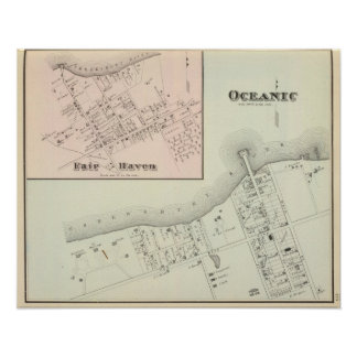 Map of Oceanic and Fair Haven, NJ Poster