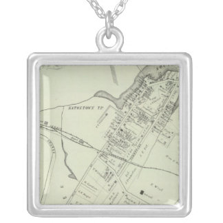 Map of Oceanport, NJ Silver Plated Necklace