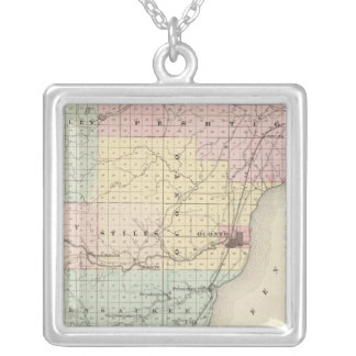 Map of Oconto County southern part Silver Plated Necklace