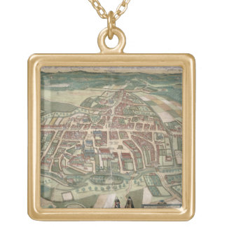 Map of Odense, from 'Civitates Orbis Terrarum' by Gold Plated Necklace