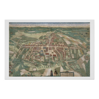 Map of Odense, from 'Civitates Orbis Terrarum' by Poster