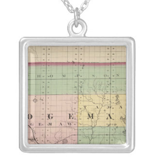 Map of Ogemaw County, Michigan Silver Plated Necklace