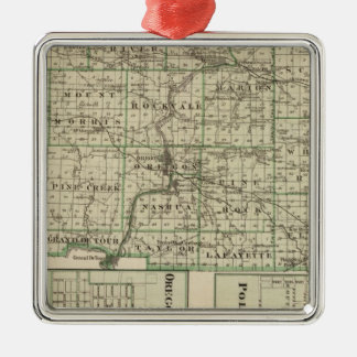 Map of Ogle County, Polo and Oregon Silver-Colored Square Decoration