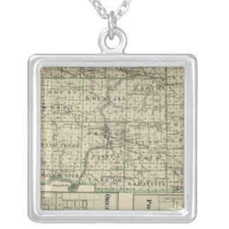 Map of Ogle County, Polo and Oregon Silver Plated Necklace