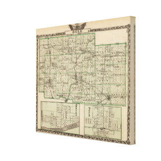 Map of Ogle County, Polo and Oregon Stretched Canvas Print