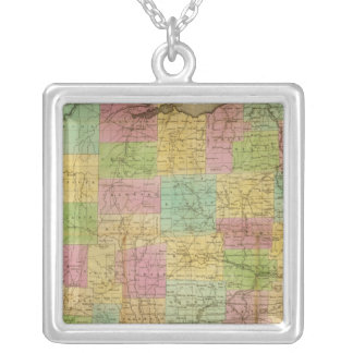Map of Ohio 2 Silver Plated Necklace