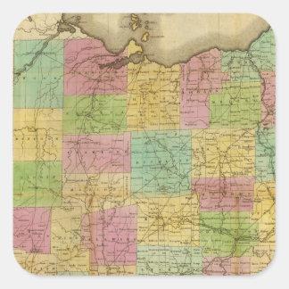 Map of Ohio 2 Square Sticker