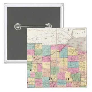 Map of Ohio And Indiana 15 Cm Square Badge