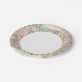 Map of Ohio And Indiana 7 Inch Paper Plate