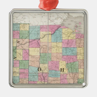 Map of Ohio And Indiana Silver-Colored Square Decoration