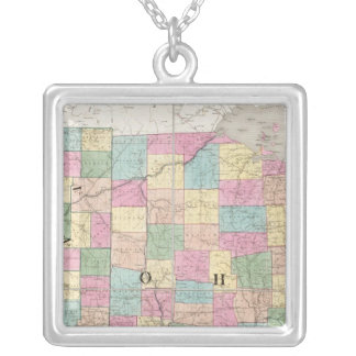 Map of Ohio And Indiana Silver Plated Necklace