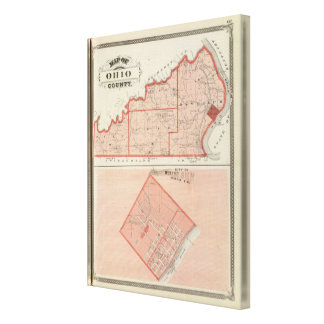 Map of Ohio County with City of Rising Sun Canvas Print