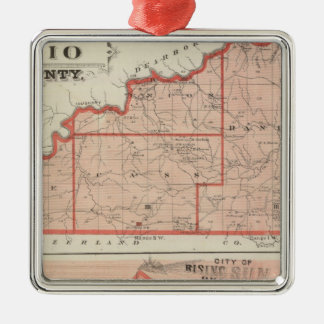 Map of Ohio County with City of Rising Sun Christmas Ornament