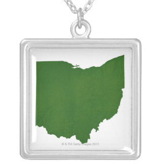 Map of Ohio Silver Plated Necklace