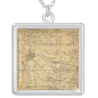 Map of Olmsted County, Minnesota Silver Plated Necklace