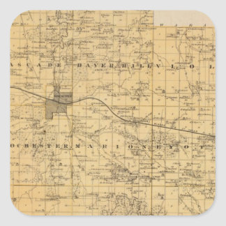 Map of Olmsted County, Minnesota Square Sticker
