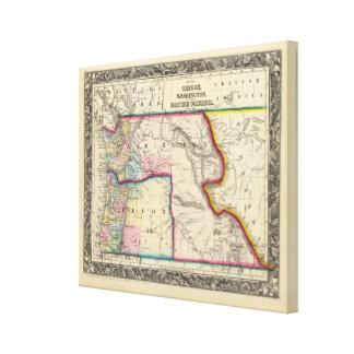 Map Of Oregon, Washington Canvas Print