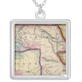 Map Of Oregon, Washington Silver Plated Necklace