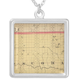 Map of Oscoda County, Michigan Silver Plated Necklace
