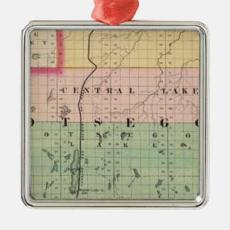 Map of Otsego County, Michigan Christmas Ornament