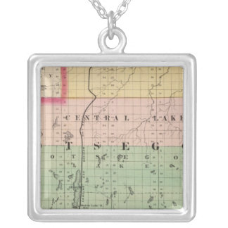 Map of Otsego County, Michigan Silver Plated Necklace