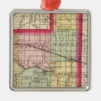 Map of Ottawa County, Michigan Christmas Ornament