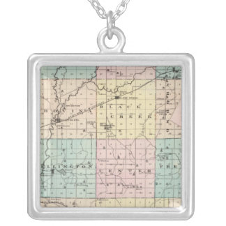 Map of Outagamie County, State of Wisconsin Silver Plated Necklace