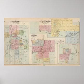 Map of Owatonna, Map of Mantorville, Minnesota Poster