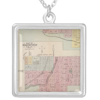 Map of Owatonna, Map of Mantorville, Minnesota Silver Plated Necklace