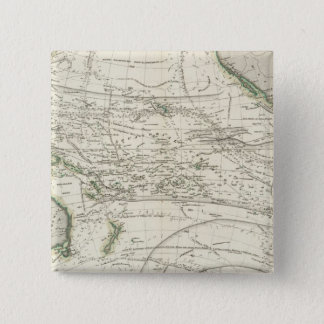 Map of Pacific Ocean 15 Cm Square Badge