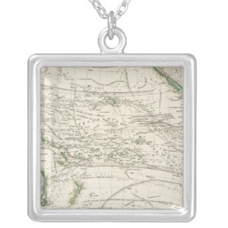Map of Pacific Ocean Silver Plated Necklace