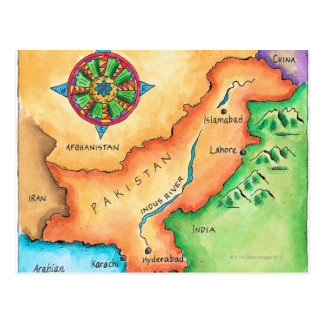Map of Pakistan Postcard