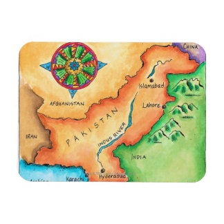 Map of Pakistan Rectangular Photo Magnet