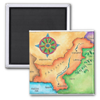Map of Pakistan Square Magnet