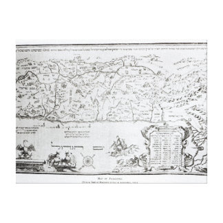Map of Palestine, from a Passover Haggadah Canvas Print