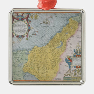 Map of Palestine Silver-Colored Square Decoration