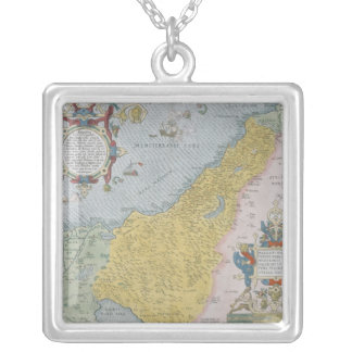 Map of Palestine Silver Plated Necklace