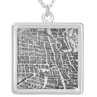 Map of Paris, 1620 Silver Plated Necklace