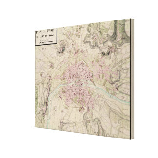Map of Paris and its Surrounding Canvas Print