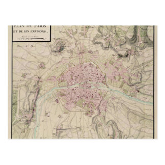 Map of Paris and its Surrounding Postcard