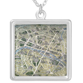 Map of Paris during the 'Grands Travaux' Silver Plated Necklace
