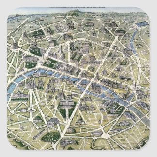 Map of Paris during the period of the Grands Square Sticker