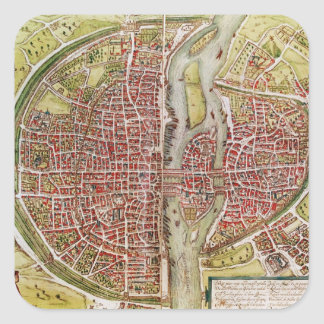Map of Paris from 'Civitates orbis terrarrum' Square Sticker