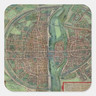 Map of Paris, from 'Civitates Orbis Terrarum' by G Square Sticker