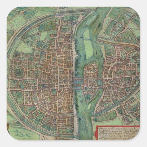Map of Paris, from 'Civitates Orbis Terrarum' by G Sticker