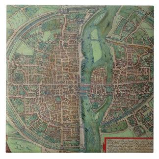 Map of Paris, from 'Civitates Orbis Terrarum' by G Tile