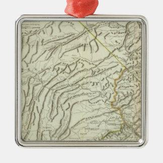 Map Of Pennsylvania 2 Silver-Colored Square Decoration
