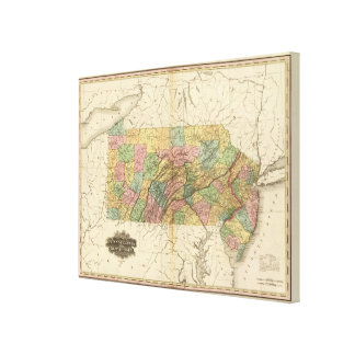 Map of Pennsylvania and New Jersey Canvas Print