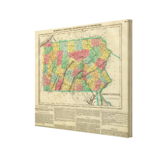 Map Of Pennsylvania Canvas Print