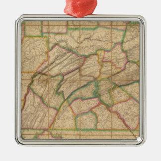 Map of Pennsylvania Christmas Ornament